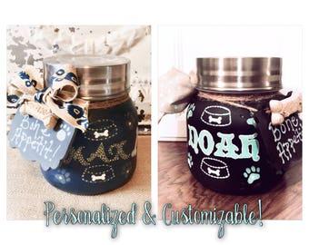 Painted Mason Jars, Pet Treat Jars, Dog Treat Jars, Cat Treat Jars, Personalized Pet Treat Jars, Canisters, Mason Jar Decor, Cookie Jar