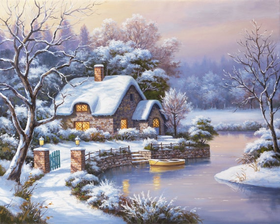 Winter Cross Stitch Pattern - Cross Stitch House - Cross Stitch Cottage - Cross Stitch Chart - Needlepoint Pattern - Cross Stitch Design