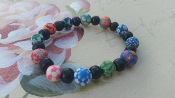 Fimo clay and wooden bead bracelet