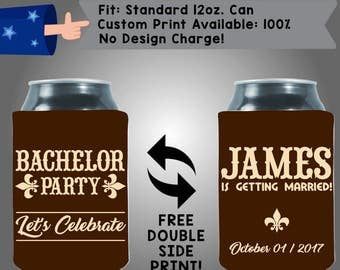 Bachelor Party Let's Celebrate Name Is Getting Married! Date Neoprene Wedding Can Cooler Double Side Print (Bach23)