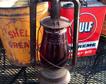 Antique Dietz Monarch Railroad Lantern Red Fitzall Globe Farmhouse Decor