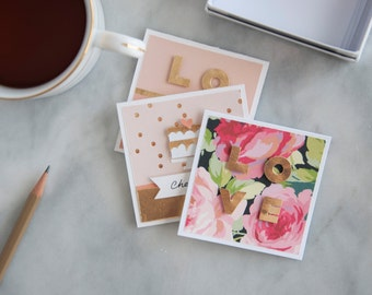 "Sweet Love Notecards //  Wedding //  Anniversary // Gift  // 3""x3"" // Set of 3 Notecards"