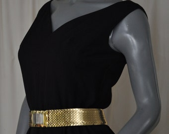 Vintage 60's Little Black Wiggle Dress Size Small