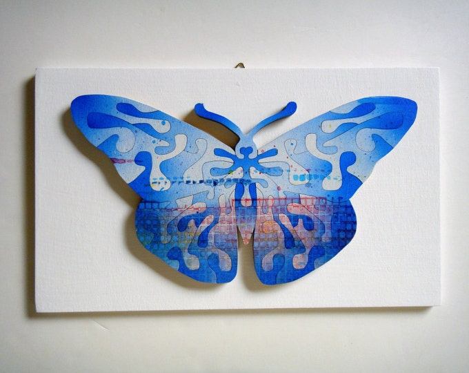 Butterfly Puzzle Art Interactive Healing, ADHD, Smart Toy, Family Gift, Wooden Handmade, Ready To Hang, Acrylic On Pieces by Samo Svete