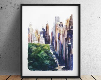 INSTANT DOWNLOAD / Central park / City print Big sizes New York print / New York City print / New York Skyline / New York watercolor
