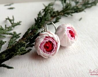 Elegant  handmade earrings with peonies, delicate earrings, floral feminine jewelry
