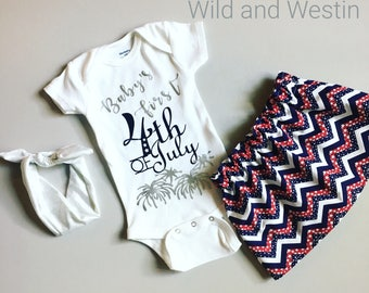 Baby's First Fourth of July Outfit, Baby Girl 4th of July Outfit, Baby Girl Fourth of July Outfit, Red White and Blue Chevron, Fireworks