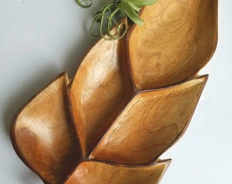 Vintage Large Wood  Leaf Shaped Tray