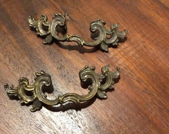 Pair of Vintage Brass French Provencial Drawer Pulls