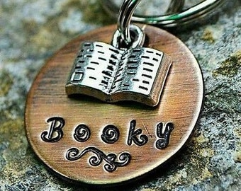 Dog Tags - Pet ID Tags - Cat Tag - Pet Accessories - Collar Tags - Pets - Pet Tag - Metal ID - CustoMetal - Book - Reading