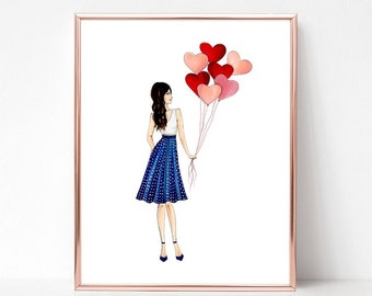 Just a girl and her hearts, fashion illustration print, art print, sketch, croquis,
