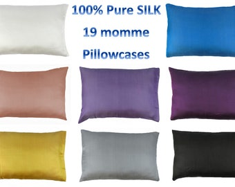 CHOOSE YOUR COLOR: 100% Pure Mulberry Silk Pillowcase 19 momme Queen Hair & Facial Beauty Hypoallergenic