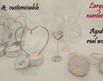 Large heart customisable table number holders place card wedding table decor