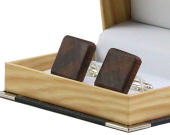 Oak Square Wooden Cuff Links in gift box