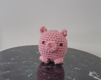 Tiny crochet tea cup pig. Great quirky for a gift for adults and children.