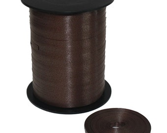 5mm Curling Ribbon Chocolate Brown Cream For Balloon Decoration Or Packing Gifts - Choose Letgth