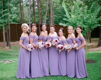 Off Shoulder Straps Sweetheart Full Length Bridesmaid Dress - Custom Made Plus Size Pick Your Colour - JM021