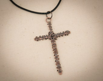 Pendant Necklace - Cross with darkened copper wire.  Unique gift.  Grunge.