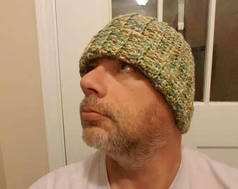 Great toboggan for the colder months; hand crocheted in multi-colored green tones. Ready to ship today!