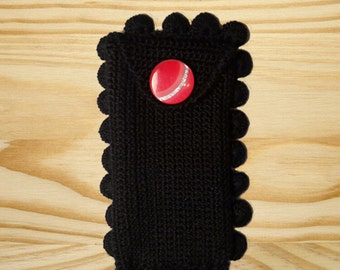Cell phone cozy case, hand knitted iPhone in black with beautiful flowers cute and different red buttons