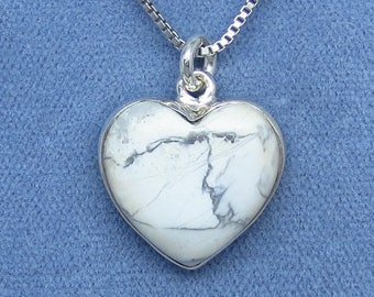 Howlite White Turquoise Heart Necklace - Sterling Silver -  H180817 - Free Shipping