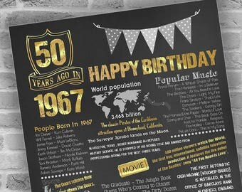 50th Birthday Gift for Man, 50 Years Ago, Poster, 1967 Birthday, Chalkboard Poster, Printable DIGITAL FILE Only, JPG