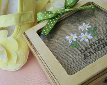 Embroidered or cross stitched jewelry box with glass
