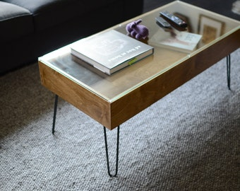 Midcentury Modern Coffee Table - Glass Top & Display Compartment