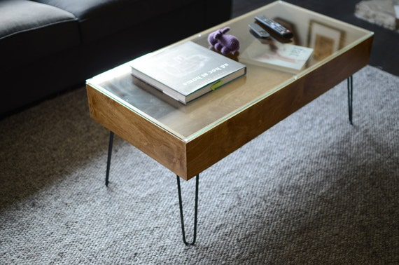 Items similar to midcentury modern coffee table glass top display compartment on etsy Display coffee table with glass top