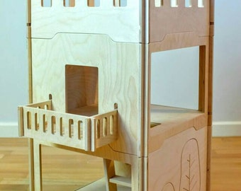 Personalized diy dollhouse for (3 units) - scandinavian design wooden doll house, modern, handcraft tree house - Fairy house