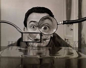 Salvador Dali,  Salvador Dali photograph, Dali black and white photo print, boho vintage, Wall Art - Decor - 8x10 - 11x14 - 16x20 -TS000401
