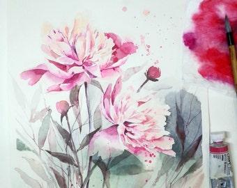 Watercolor peony