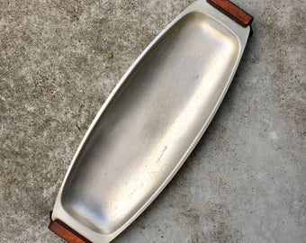 Retro Stainless Steel Serving Dish Tray with Bakelite Legs Long Oval Buffet Style