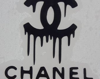 45 inch wide Dripping logo with text Chanel / Wall decal