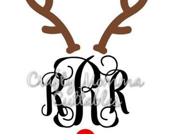 Reindeer For Monogram SVG file // Antlers SVG // Christmas Cut File // Rudolph monogram SVG // Cut File // Silhouette File // Cutting File /