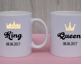 """Cup set / breakfast / """"King & Queen"""" / mug"""