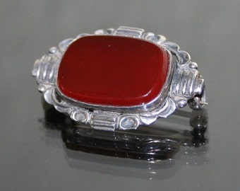 Silver (935) and Carnelian Art Deco Style Brooch