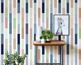 Colorful stripes with tiny dots wallpaper, Wall mural for kids room, Reusable, Removable #102