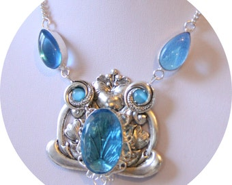 Art Nouveau spirit Mucha silver print and Blue Crystal Necklace