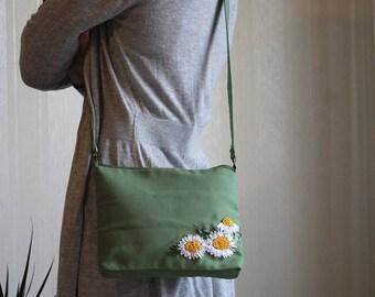 Shoulder small bag Handles  bag for girl Embroidered flower bag Gift for daughter Chamomile flowers Green fabric handbag OOAK Little handbag