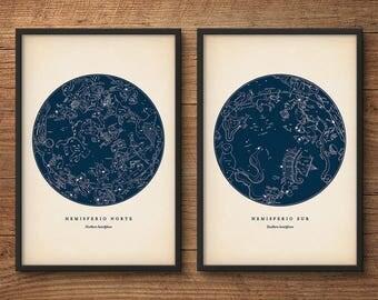 Star map print set of 2, Astronomy print, Star chart print, Constellations chart, Constellation print, Nautical decor, Wall art