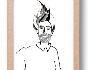 "Illustration ""FUJI""-handmade black and white illustration of a portrait"