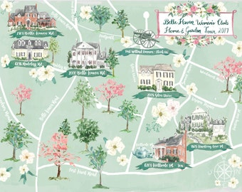 Custom Watercolor Map for Events, Weddings, Marketing