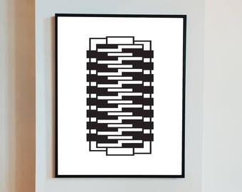 Downloadable art, geometric minimalist print, bauhaus, graphic design, pattern, textile, modernist, wall hanging, decor, poster, gift
