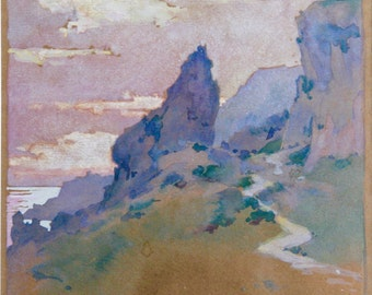 Lucy S. Conant  (American 1867-1921)  Capri watercolor on paper