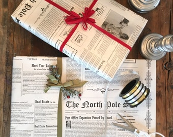 North Pole Newspaper Gift Wrapping Paper Roll