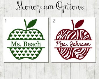 Personalized Apple Teacher Decal - Gift for Teacher - Teacher Apple Decal - Custom Teacher Decal - Teacher Laptop Decal - Apple Teacher Gift