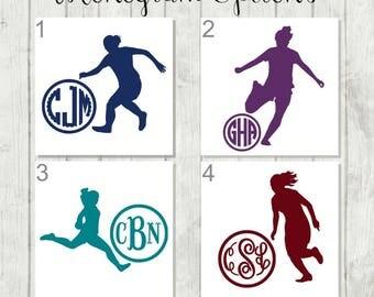 Soccer Monogram Decal, Girls Soccer Monogram, Soccer Player Monogram, Girls Sports Decal, End of Season Team Gift, Soccer Team Decals