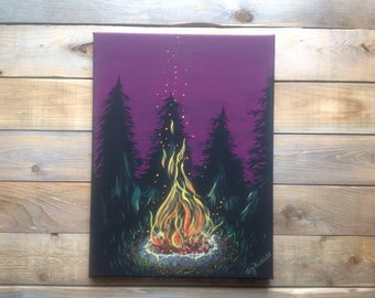 Original,one of a kind,12x16,hand painted,camp fire,acrylic on canvas,cottage decor.