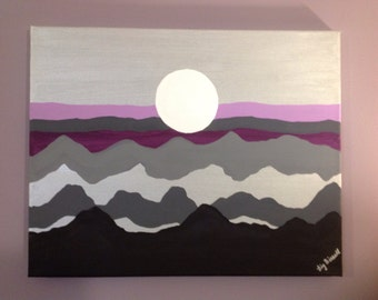 Original,hand painted,silver sunset,sunset, painting of sunset,sunset on mountains,mountains,acrylic on canvas,metallic.